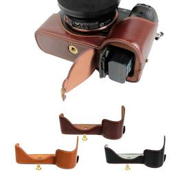 PU Leather Camera Case Half Bag Cover Battery Open for Sony