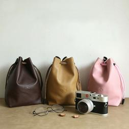 PU Leather Waterproof Drawstring Camera Bag Pouch Insert For