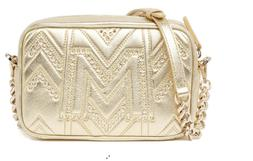 MCM Quilted Studded Crossbody Gold Camera Bag New $1,200
