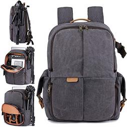 S-ZONE Camera Backpack Canvas Travel Case Bag 15.6 inch Lapt