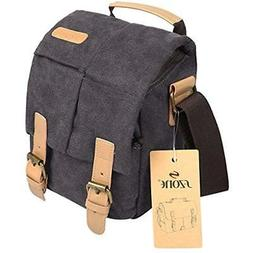 S-ZONE Vintage Small Waterproof Canvas Leather Trim DSLR Sho