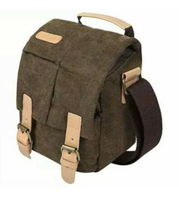 S-ZONE Water Resistant Camera Bag Canvas Leather Trim Camera