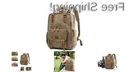S-ZONE Waterproof Waxed Canvas Camera Backpack Camera Case 1