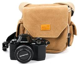 Tan Brown Medium Sized Canvas Carry Bag for New Olympus OM-D