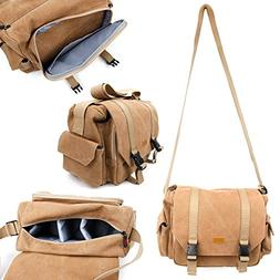 Tan-Brown Large Sized Canvas Carry Bag With Adjustable Stora