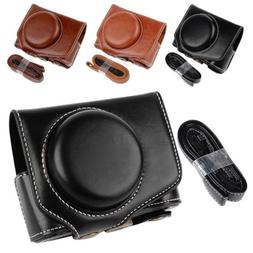 US PU Leather Camera Bag Case Cover For Canon Powershot G7XI