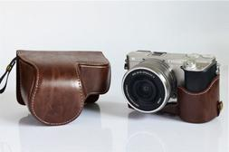 Vintage Camera PU Leather Case Bag with Strap For Sony Alpha