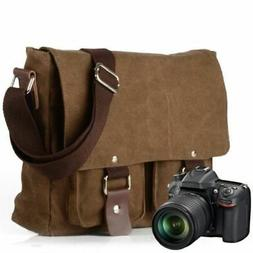 Vintage Canvas DSLR SLR Camera Bag Travel Shoulder Messenger