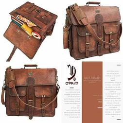 DHK 18 Inch Vintage Handmade Leather Messenger Bag for Lapto