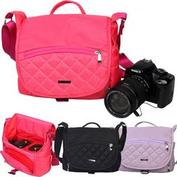 Women's DSLR SLR Camera Lens Padded Shoulder Bag Travel Came