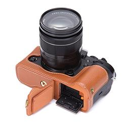 X-T3 Case, BolinUS Handmade Genuine Real Leather Half Camera