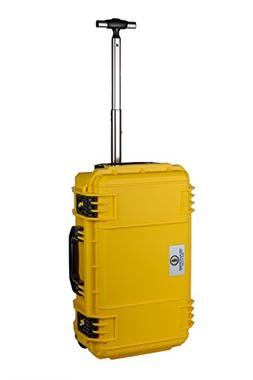 Yellow SE830 FAA Carry on approved travel case with wheels.