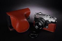 ymGenuine Real Leather Full Camera Case Bag Cover for Olympu